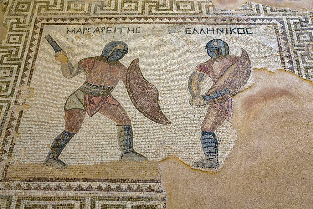 Mosaic in the House of the Gladiators in Kourion Archaeological Site in southern Cyprus, Mediterranean, Europe - 785-2343