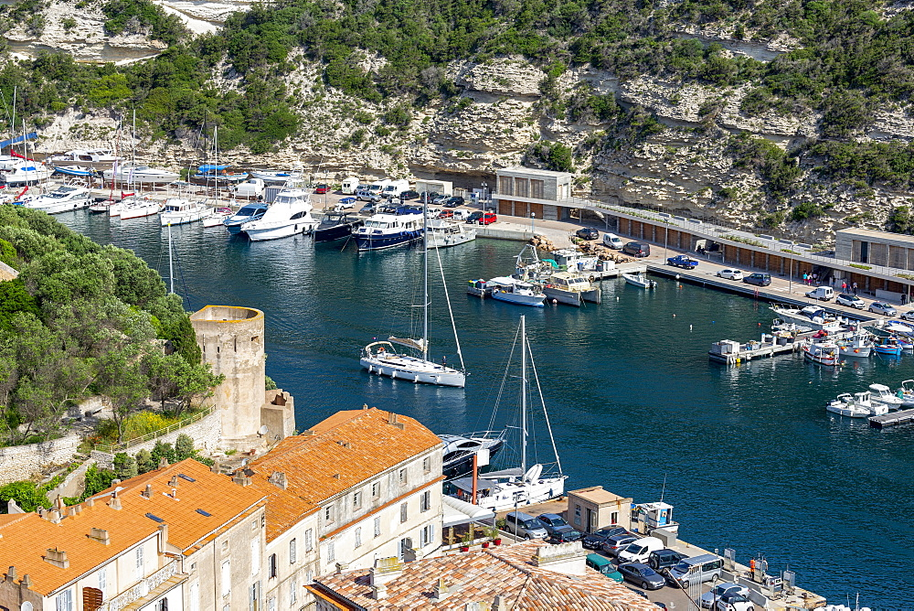 Boats moored in the marina in the southern Corsica town of Bonifacio - 785-2360