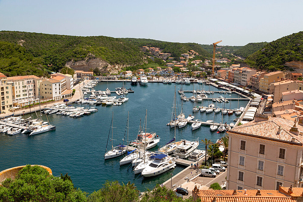 Boats moored in the marina in the southern Corsica town of Bonifacio