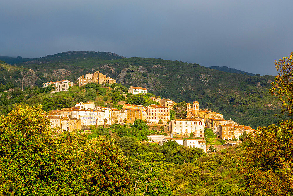The small hill town of Oletta in northern Corsica