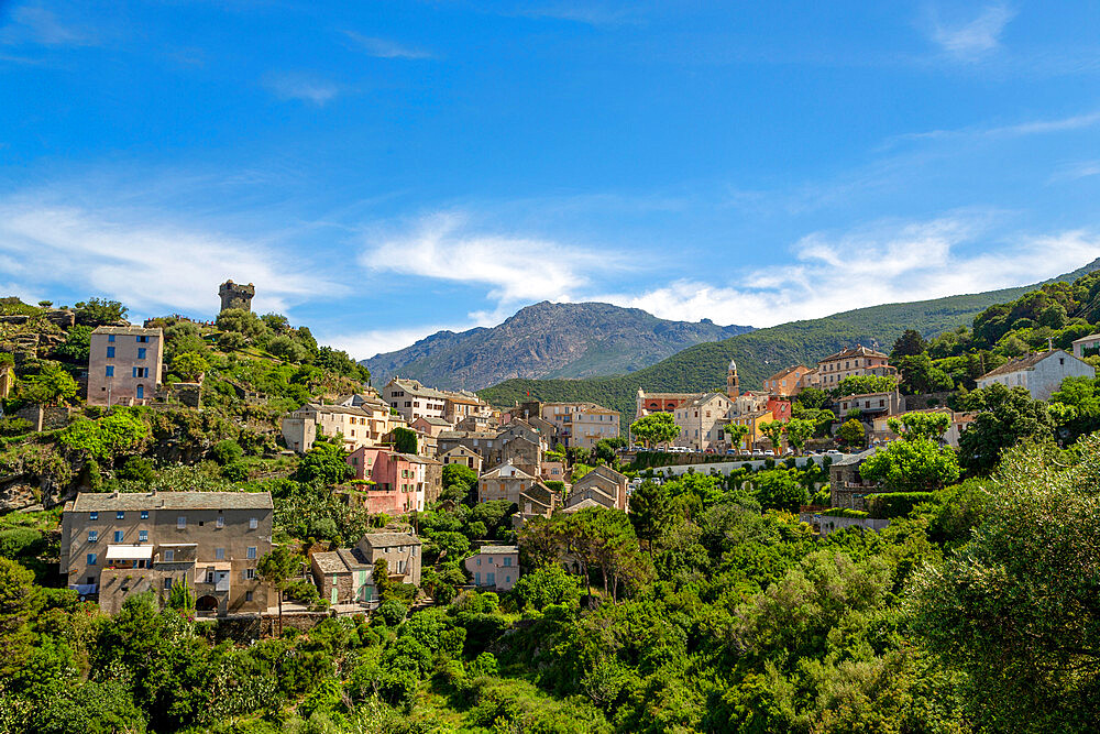 The historic hill village of Nonza on Cap Corse, the most northerly point of Corsica - 785-2379