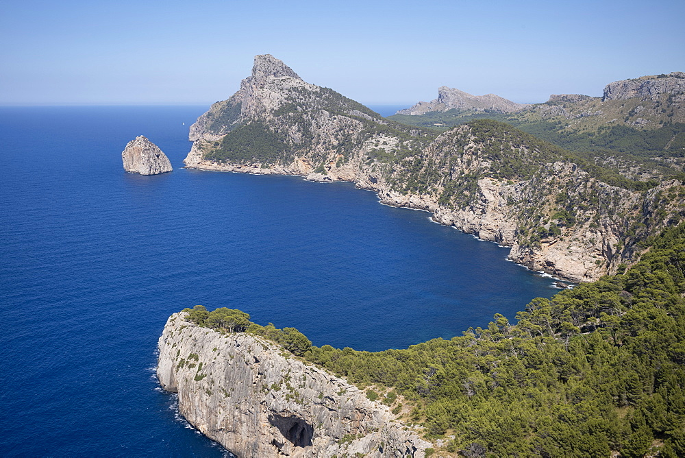 Rugged headland at Cap de Formentor seen from Mirador es Colomer on the northern coast of the Mediterranean island of Mallorca, Balearic Islands, Spain, Europe