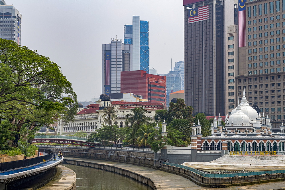 Masjid Jamek Mosque at the confluence of the Klang and Gombak River in the capital city of Kuala Lumpur