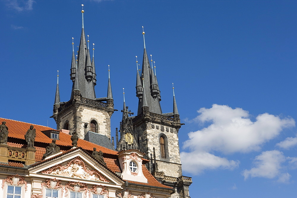 Kisky Palace, Old Town Square, with the Church of Our Lady before Tyn in the background, Old Town, Prague, Czech Republic, Europe