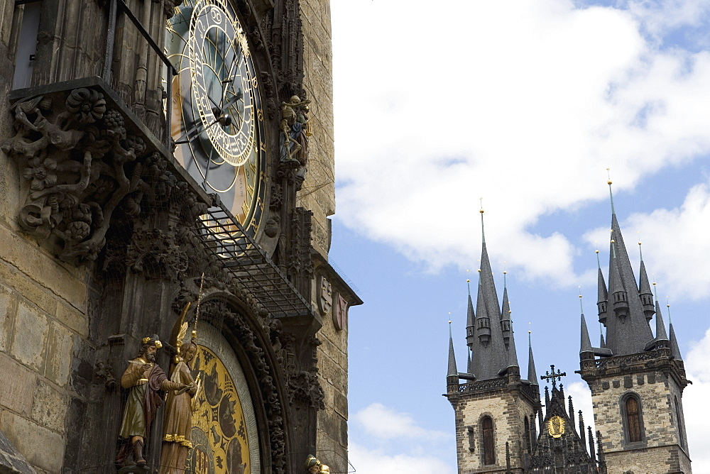 Town Hall Clock (Astronomical clock), Church of Our Lady before Tyn, Old Town Square, Old Town, Prague, Czech Republic, Europe