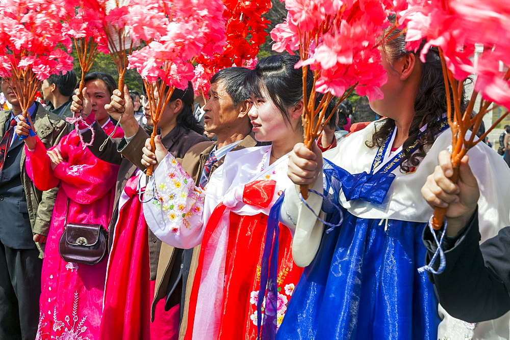 Women in traditional dress during street celebrations on the 100th anniversary of the birth of President Kim Il Sung, April 15th 2012, Pyongyang, Democratic People's Republic of Korea (DPRK), North Korea, Asia