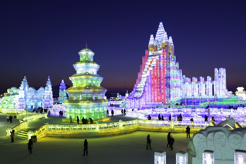 Spectacular illuminated ice sculptures at the Harbin Ice and Snow Festival in Harbin, Heilongjiang Province, China, Asia - 794-4283