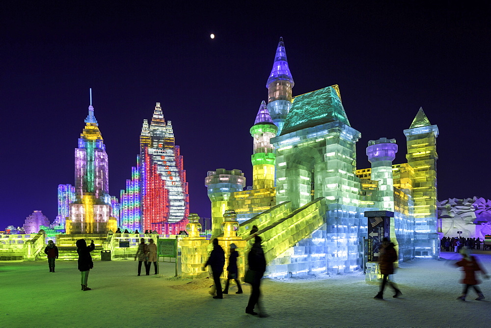 Spectacular illuminated ice sculptures at the Harbin Ice and Snow Festival in Harbin, Heilongjiang Province, China, Asia - 794-4284
