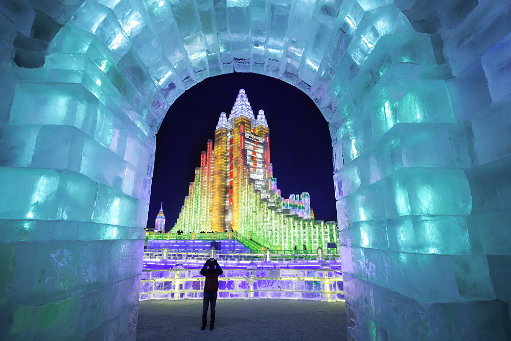 Spectacular illuminated ice sculptures at the Harbin Ice and Snow Festival in Harbin, Heilongjiang Province, China, Asia - 794-4291