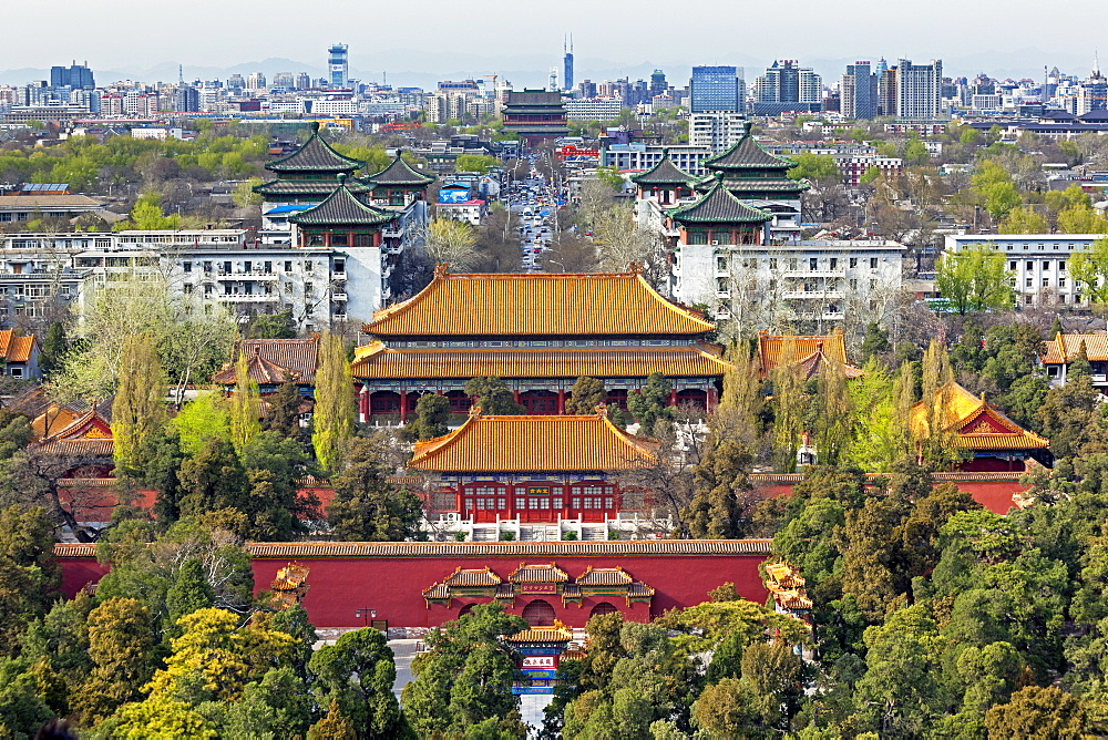 The Forbidden City in Beijing looking South taken from the viewing point of Jingshan Park, Beijing, China, Asia