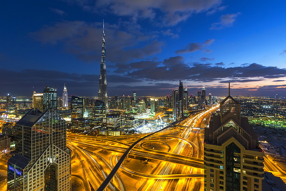 The Burj Khalifa Dubai, elevated view across Sheikh Zayed Road and Financial Centre Road Interchange, Downtown Dubai, Dubai, United Arab Emirates, Middle East