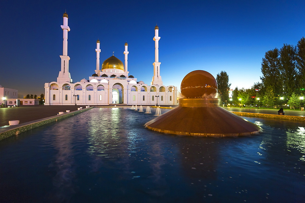 Nur Astana Mosque at dusk, Astana, Kazakhstan, Central Asia