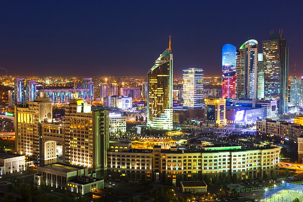 The city center and central business district at night, Astana, Kazakhstan, Central Asia