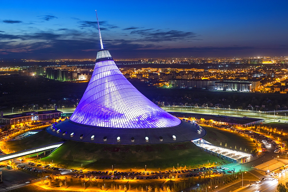 Night view over Khan Shatyr entertainment center, Astana, Kazakhstan, Central Asia