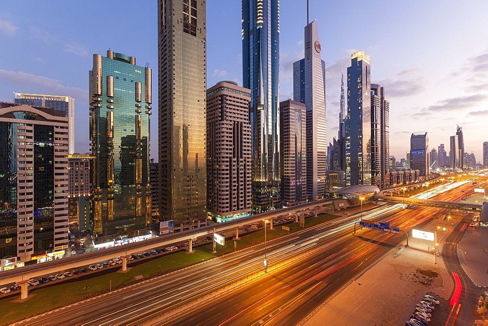 Sheikh Zayed Road, traffic and new high rise buildings along Dubai's main road, Dubai, United Arab Emirates, Middle East
