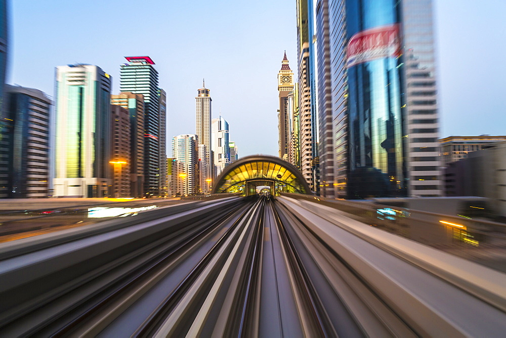 POV on the modern driverless Dubai elevated Rail Metro System, running alongside the Sheikh Zayed Road, Dubai, United Arab Emirates, Middle East