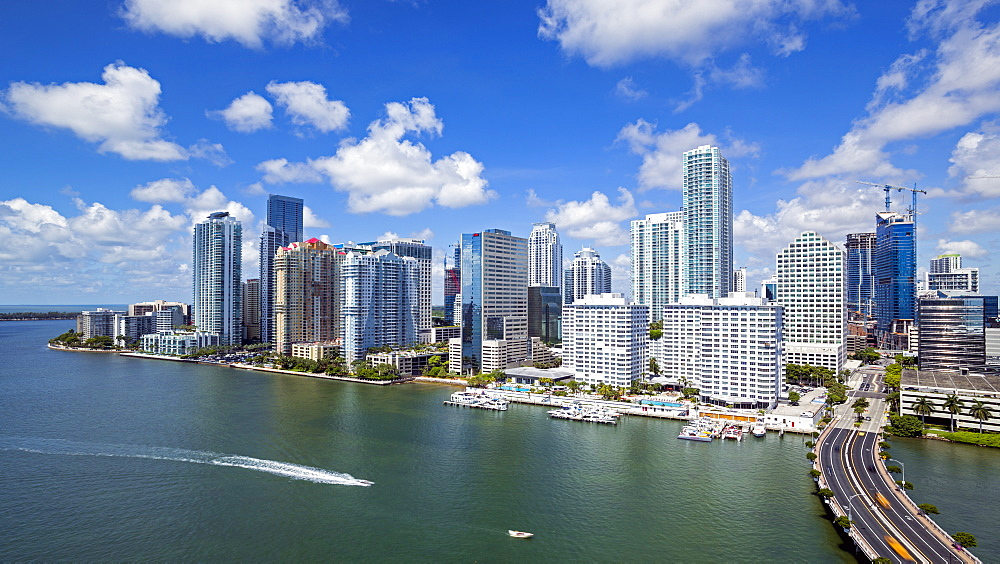 View from Brickell Key, a small island covered in apartment towers, towards the Miami skyline, Miami, Florida, United States of America, North America