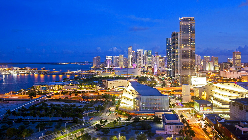 Elevated view over Biscayne Boulevard and the skyline of Miami, Florida, United States of America, North America