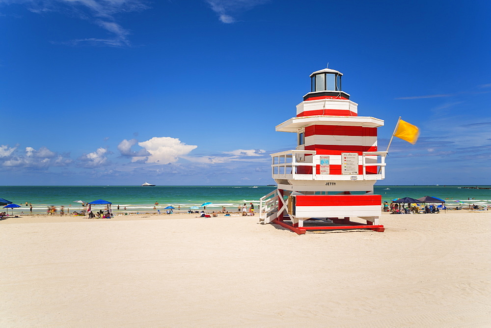 Art Deco style Lifeguard hut on South Beach, Ocean Drive, Miami Beach, Miami, Florida, United States of America, North America - 794-4409