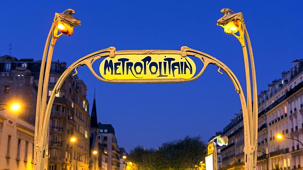 Art deco Metropolitain (subway) sign, Paris, France, Europe