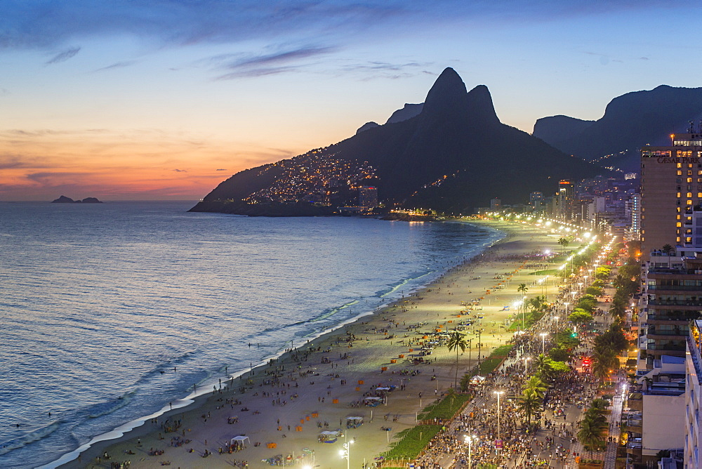 Sunset over Ipanema Beach and Dois Irmaos (Two Brothers) mountain, Rio de Janeiro, Brazil, South America - 794-4443