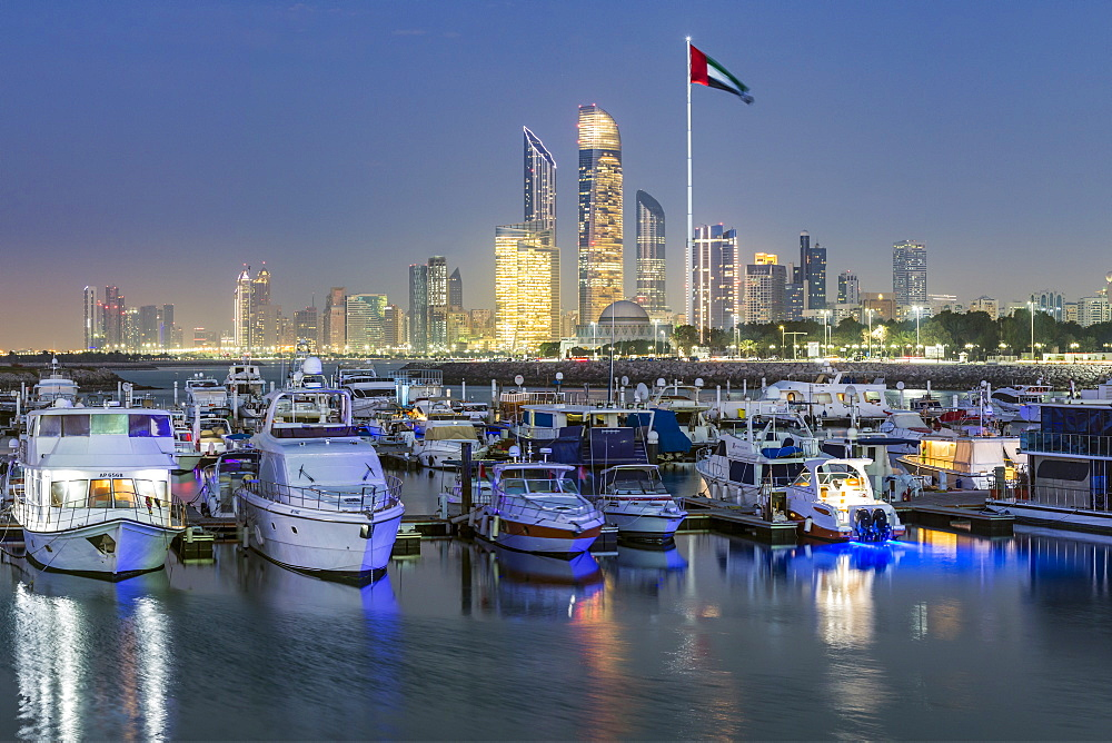 Modern city skyline and Marina, Abu Dhabi, United Arab Emirates, UAE