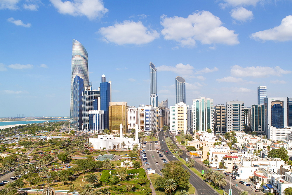 Modern city skyline, Abu Dhabi, United Arab Emirates, UAE - 794-4459