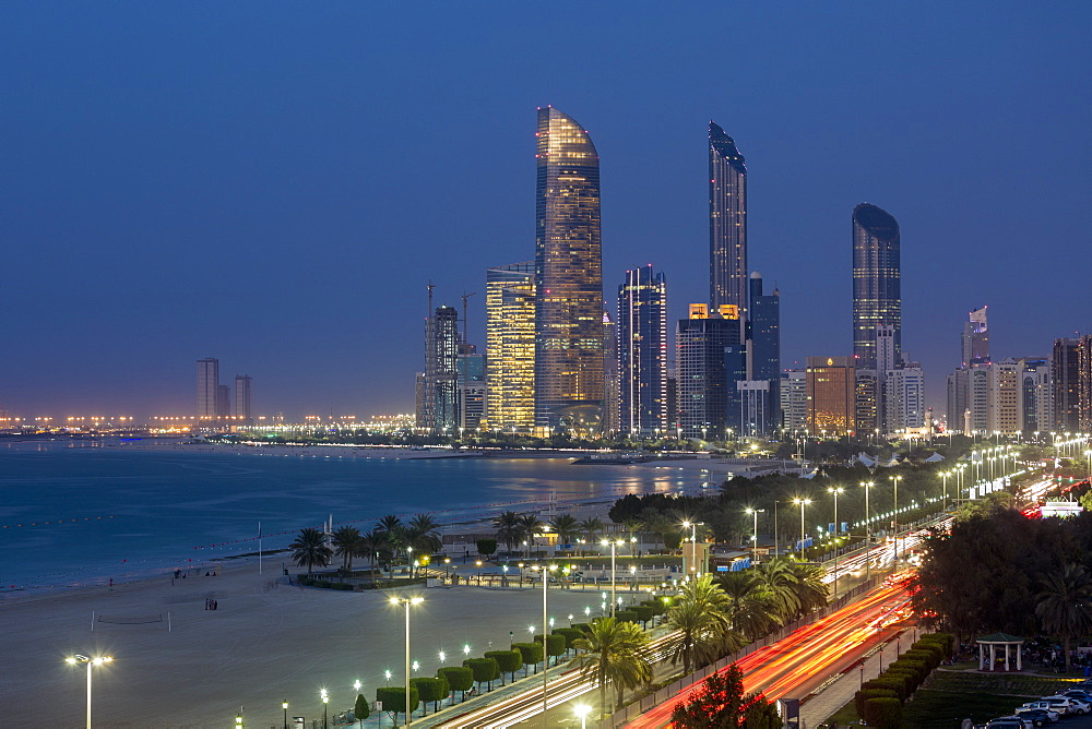 Modern city skyline, Abu Dhabi, United Arab Emirates, Middle East