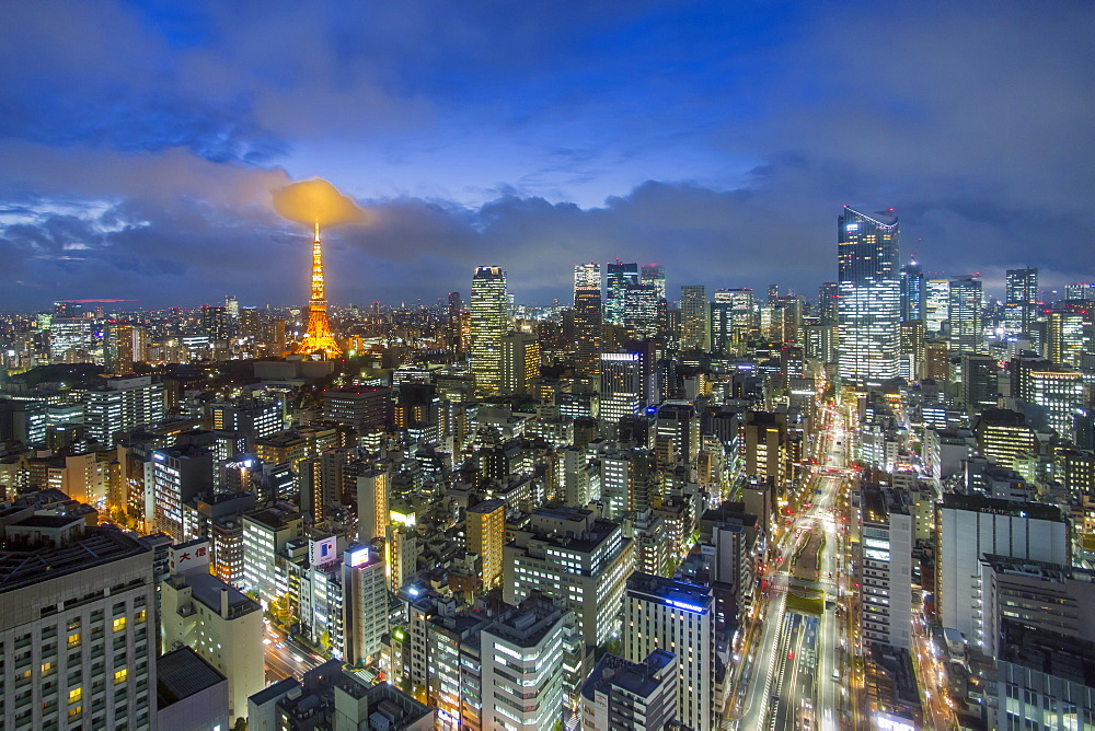 Japan, Tokyo, elevated night view of the city skyline and iconic illuminated Tokyo Tower - 794-4497