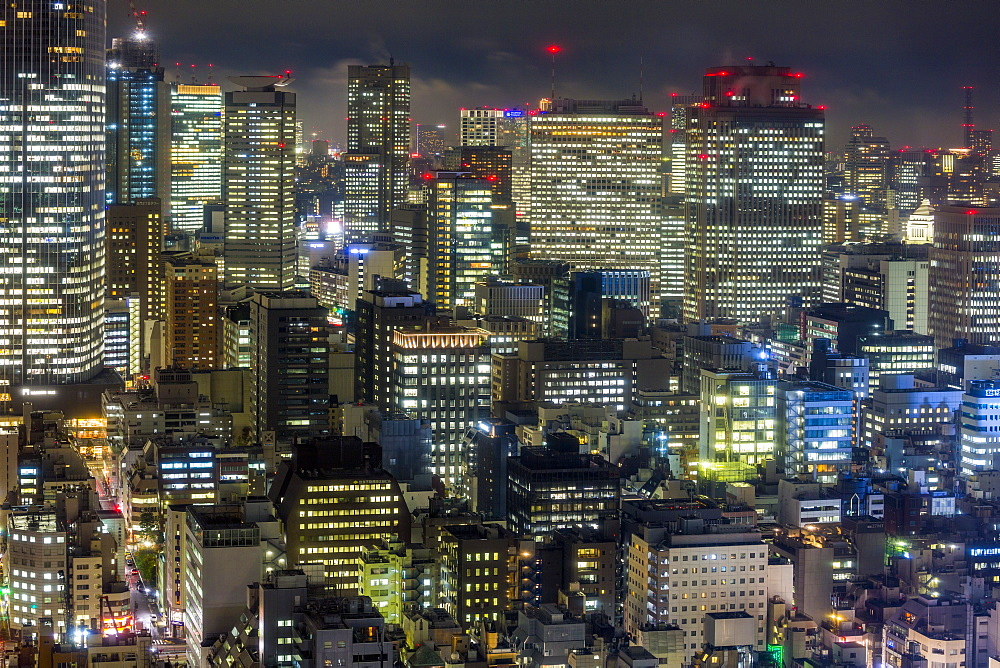 Japan, Tokyo, downtown city buildings at night - 794-4509
