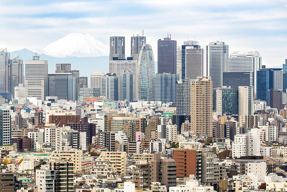Mount Fuji and the Shinjuku district skyscraper skyline, Tokyo, Japan - 794-4510