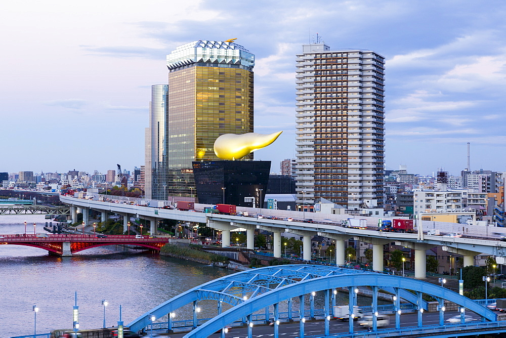 Japan, Tokyo, modern architecture along the Sumida River - 794-4515