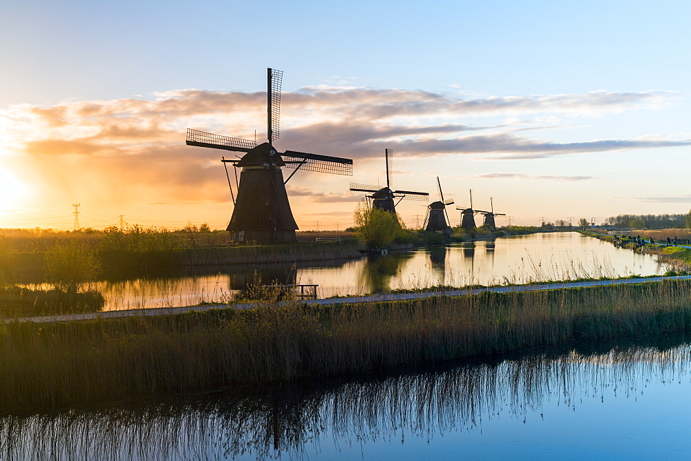 Windmills, Kinderdijk, UNESCO World Heritage Site, Netherlands, Europe - 794-4524