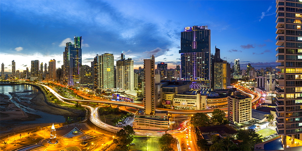City skyline illuminated at dusk, Panama City, Panama, Central America - 794-4533