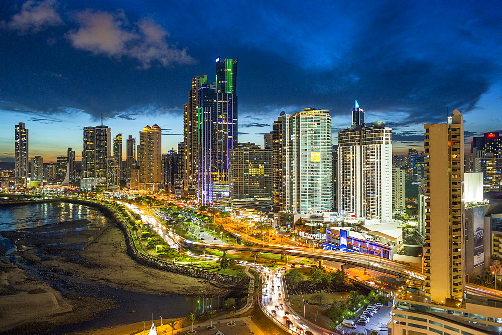 City skyline illuminated at dusk, Panama City, Panama, Central America - 794-4534