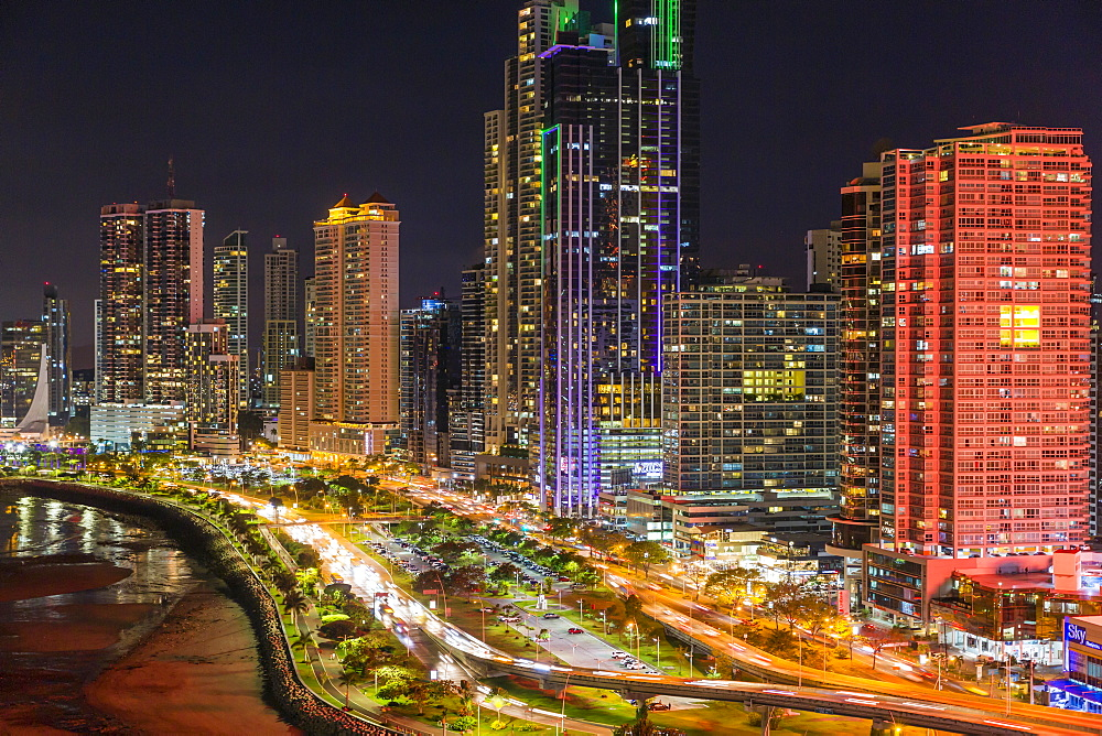 City skyline at night, Panama City, Panama, Central America