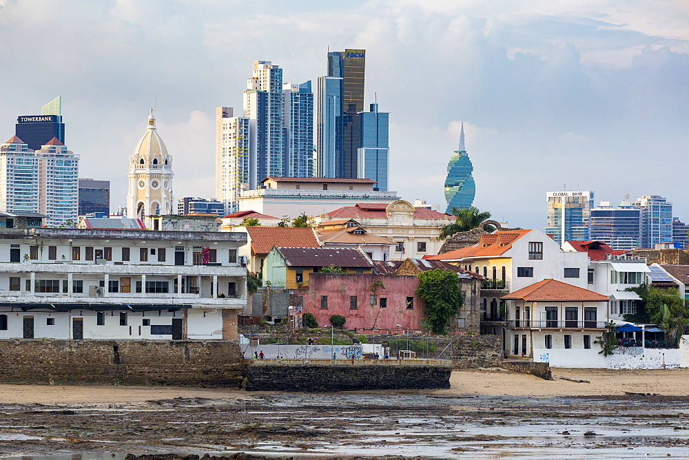 Historic and modern city skyline, Panama City, Panama, Central America - 794-4545
