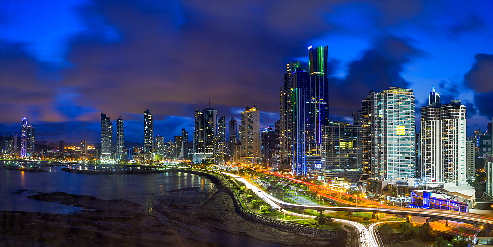 City skyline illuminated at dusk, Panama City, Panama, Central America