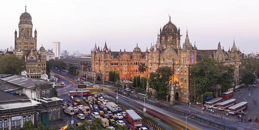 Chhatrapati Shivaji Maharaj Terminus railway station (CSMT), formerly Victoria Terminus, UNESCO World Heritage Site, Mumbai, Maharashtra, India, Asia - 794-4584