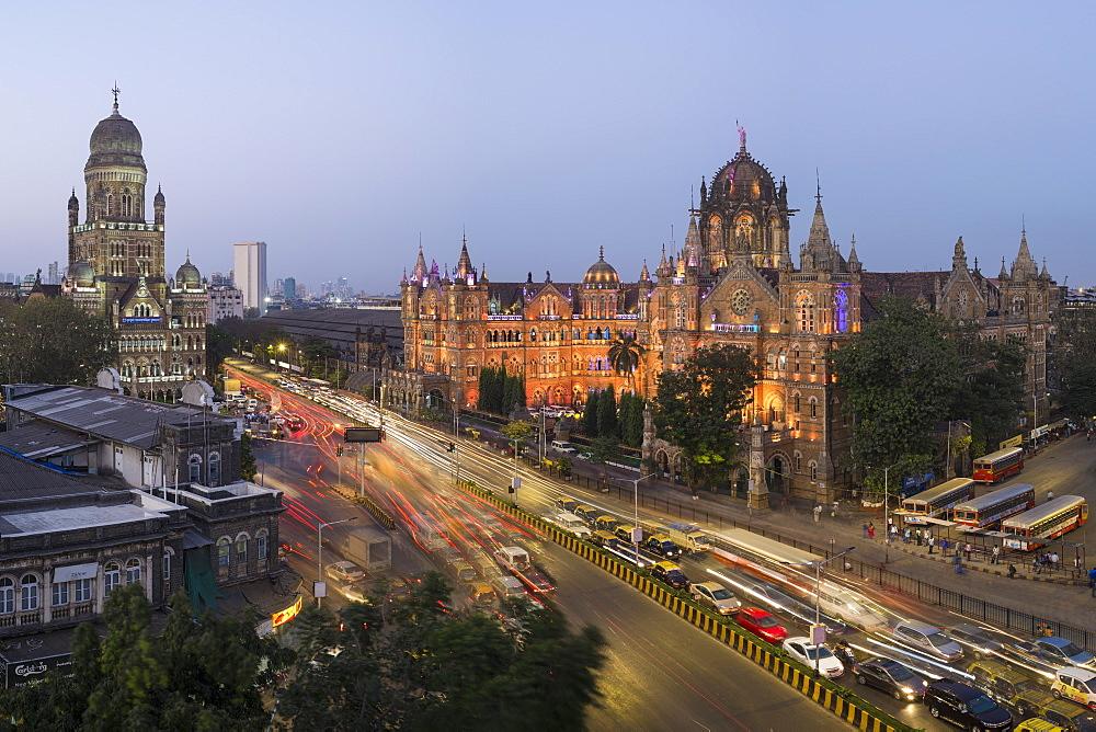 Chhatrapati Shivaji Maharaj Terminus railway station (CSMT), formerly Victoria Terminus, UNESCO World Heritage Site, Mumbai, Maharashtra, India, Asia - 794-4585
