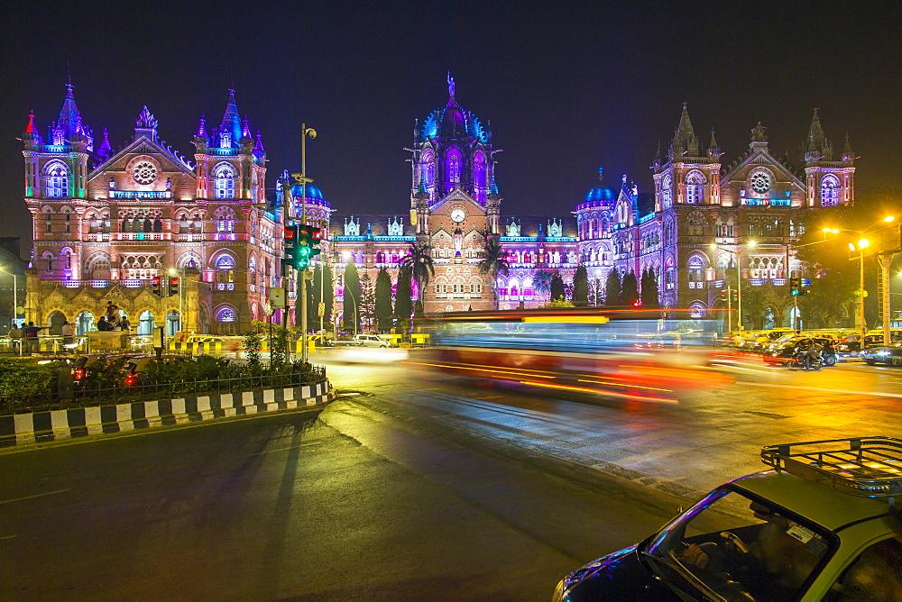 Chhatrapati Shivaji Maharaj Terminus railway station (CSMT), formerly Victoria Terminus, UNESCO World Heritage Site, Mumbai, Maharashtra, India, Asia - 794-4586