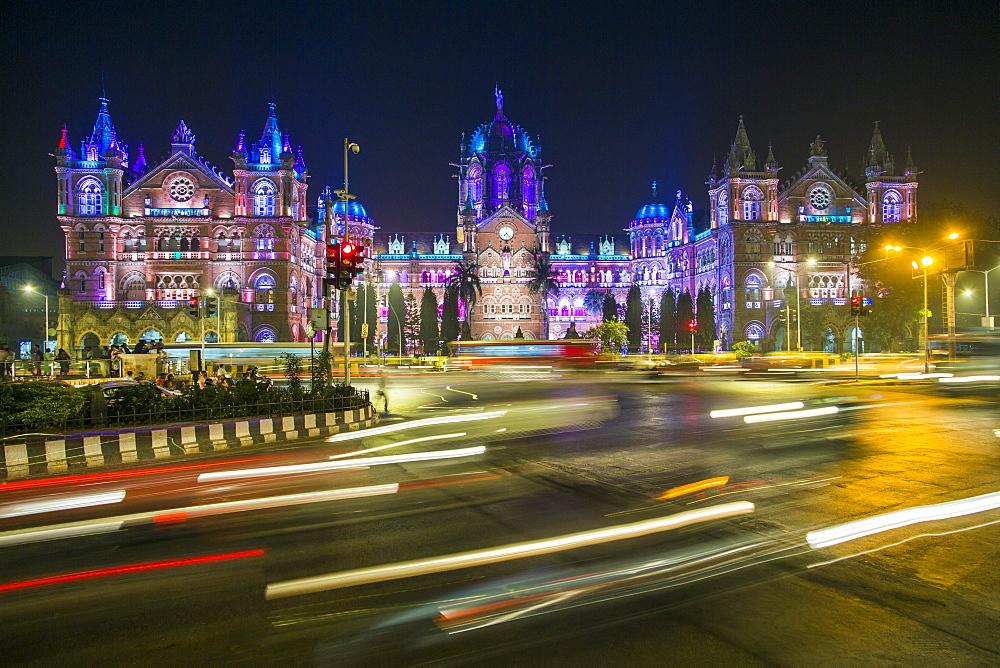 Chhatrapati Shivaji Maharaj Terminus railway station (CSMT), formerly Victoria Terminus, UNESCO World Heritage Site, Mumbai, Maharashtra, India, Asia - 794-4592