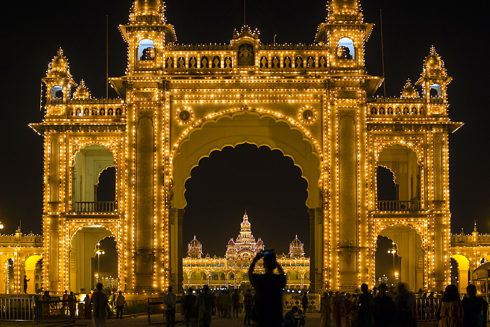 City Palace, entrance gateway to the Maharaja's Palace, Mysore, Karnataka, India, Asia - 794-4606