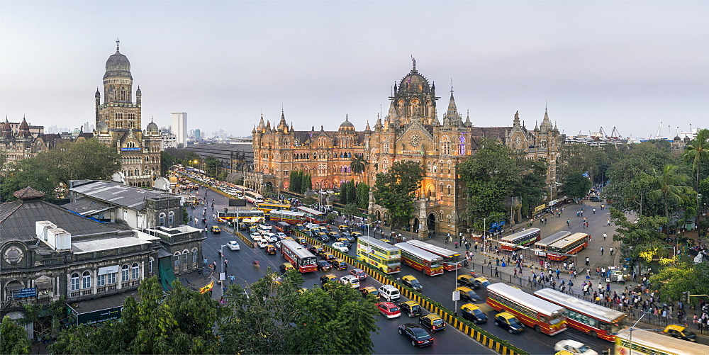 Chhatrapati Shivaji Maharaj Terminus railway station (CSMT), formerly Victoria Terminus, UNESCO World Heritage Site, Mumbai, Maharashtra, India, Asia - 794-4610