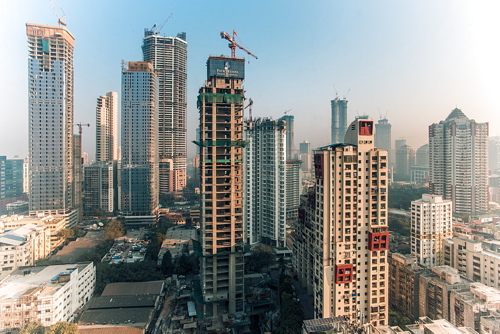 City skyline of modern office and residential buildings, Mumbai, Maharashtra, India, Asia - 794-4639