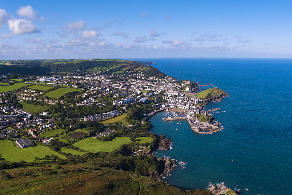 Aerial view over the town and North Devon coast, Ilfracombe, Devon, England, United Kingdom, Europe - 794-4642