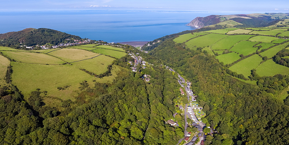 Wooded valley on the north Devon coast, Lynton, Exmoor, Devon, England, United Kingdom, Europe - 794-4643