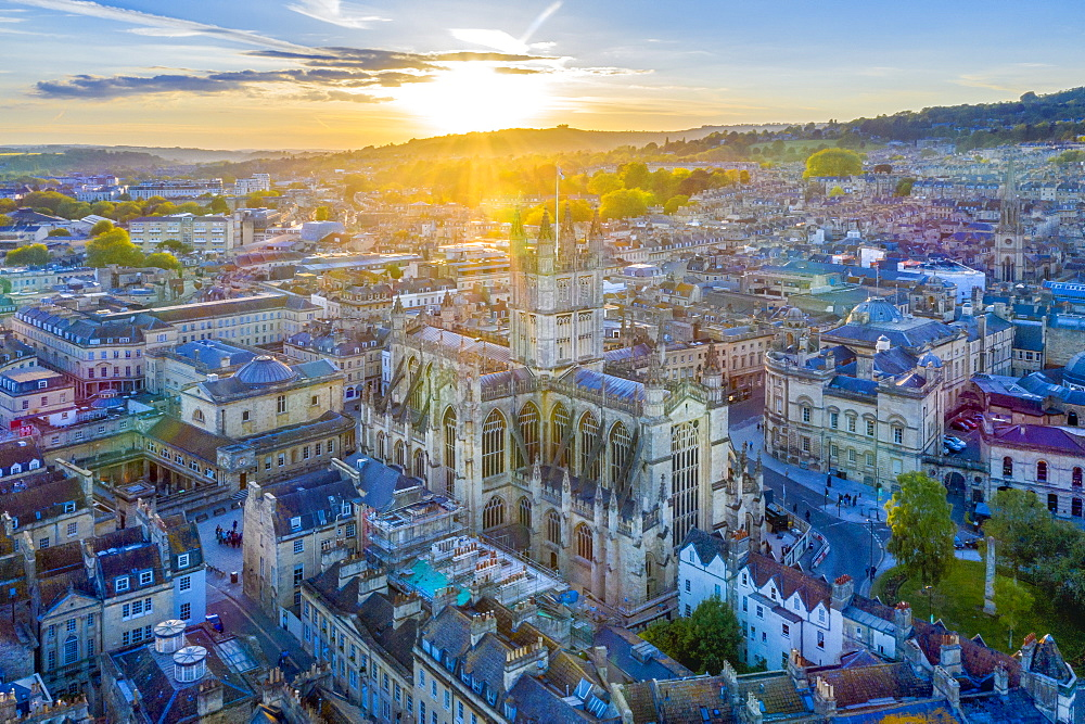 Aerial view by drone over Bath, Somerset, England, United Kingdom, Europe