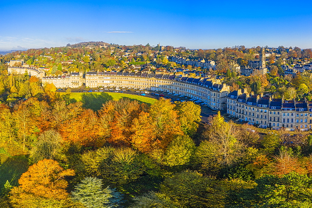Aerial view by drone over the Georgian city of Bath and Lansdown Cresent, Somerset, England, United Kingdom, Europe