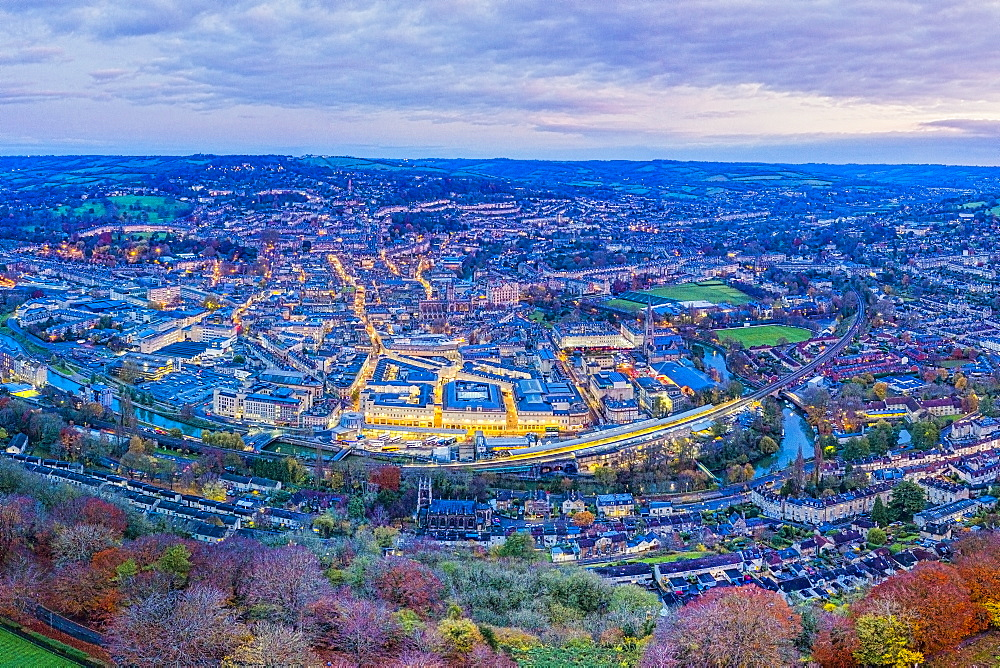 Aerial view by drone over the Georgian city of Bath, Somerset, England, United Kingdom, Europe